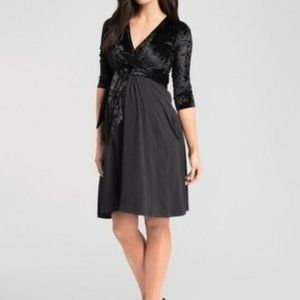 Maternity Black Velvet Midi Dress